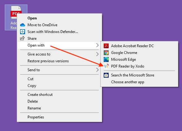 Xodo on Windows 10 - Open