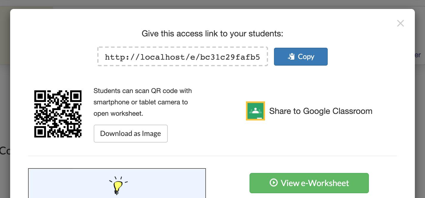 e-Worksheet Access link