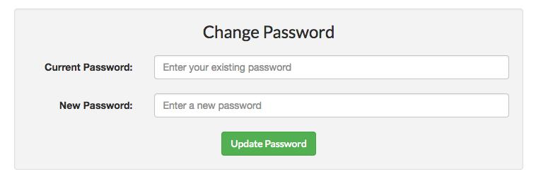 Change password form