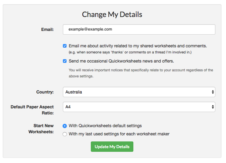 Change settings form
