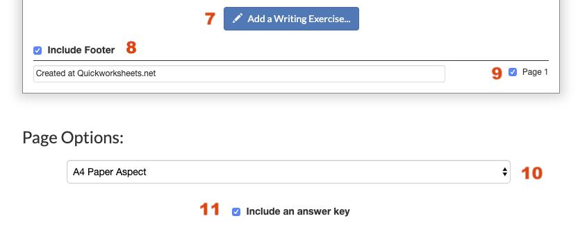Generic worksheet options.