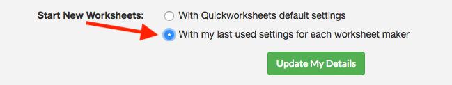 Last used settings