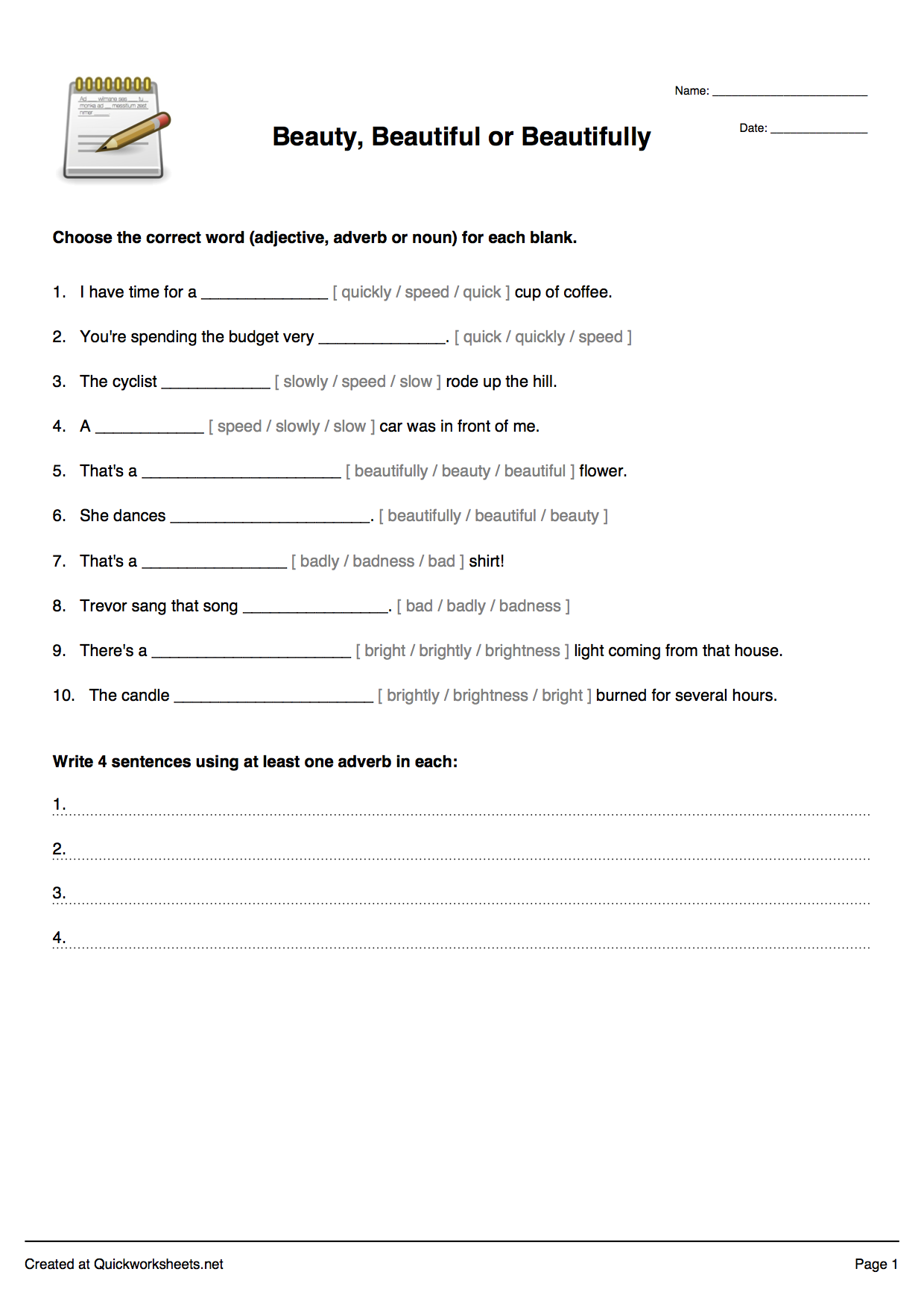 Fill-in-the-Blank Sentences Worksheet Maker