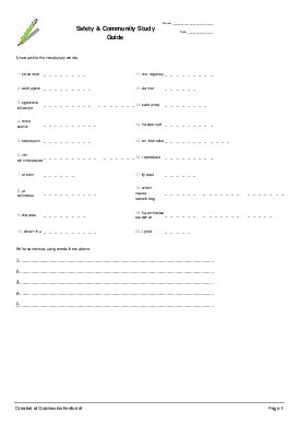 Safety & Community Study Guide - Worksheet Thumbnail