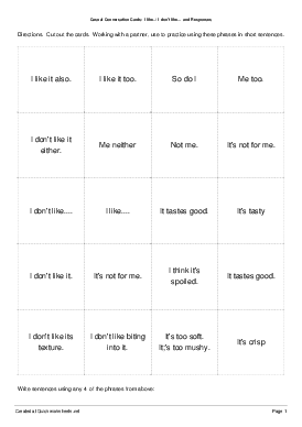 Casual Conversation Cards:  I like../ I don't like... and Responses - Worksheet Thumbnail