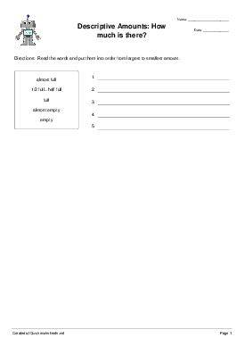 Descriptive Amounts: How much is there? - Worksheet Thumbnail