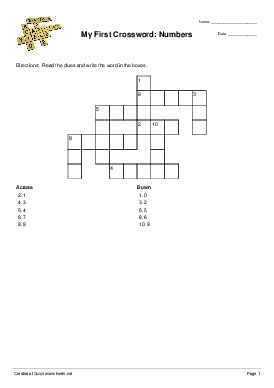 My First Crossword: Numbers - Worksheet Thumbnail