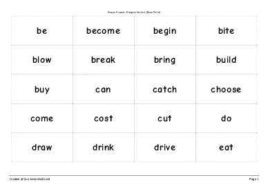 Simple Present: Irregular Verbs 1 (Base Form) - Worksheet Thumbnail