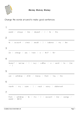 Money Money Money - Worksheet Thumbnail