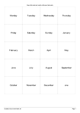 Days of the week and months of the year flash cards - Worksheet Thumbnail