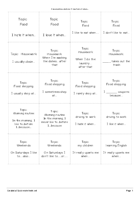 Conversations starters:  I love/hate it when.... - Worksheet Thumbnail