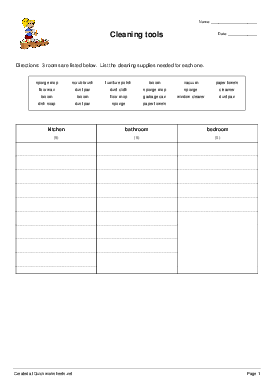 Cleaning tools - Worksheet Thumbnail