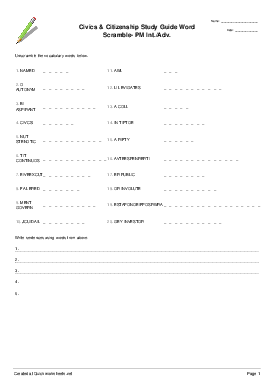 Civics & Citizenship Study Guide Word Scramble- PM Int./Adv. - Worksheet Thumbnail