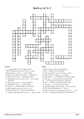 Spelling List D-5 - Worksheet Thumbnail