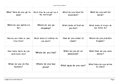 Present Simple Questions - Worksheet Thumbnail