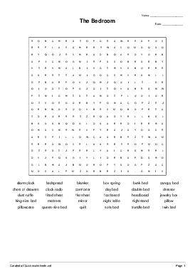 The Bedroom - Worksheet Thumbnail