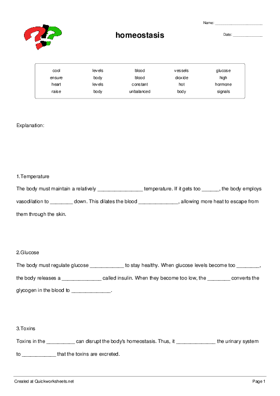 homeostasis - Cloze Test - Quickworksheets.net