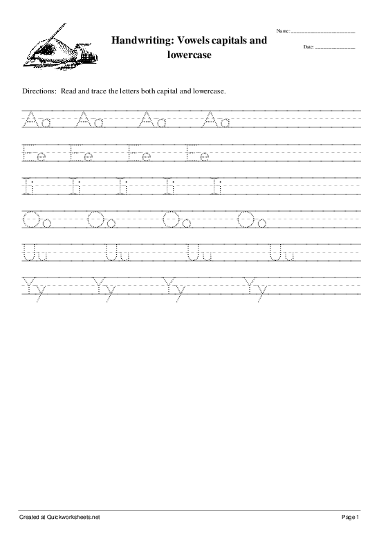 Handwriting: Vowels capitals and lowercase - Worksheet Thumbnail