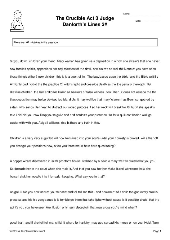 The Crucible Act 3 Judge Danforth's Lines 2# - Worksheet Thumbnail