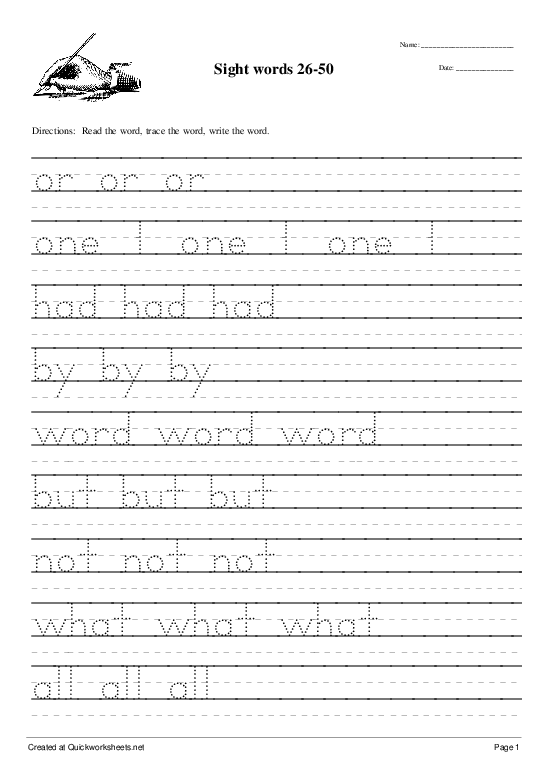 Sight words 26-50 - Worksheet Thumbnail