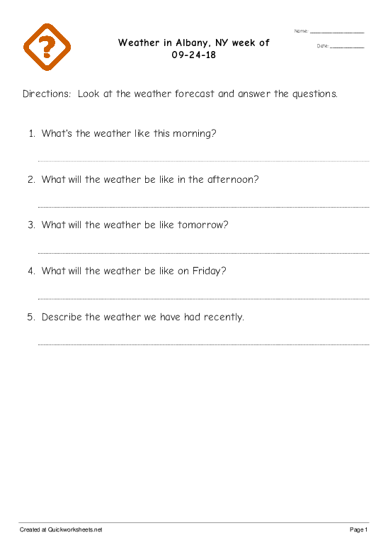Weather in Albany, NY week of 09-24-18 - Worksheet Thumbnail
