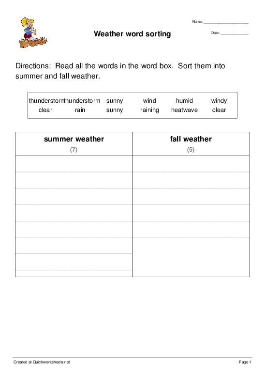 Weather word sorting - Worksheet Thumbnail