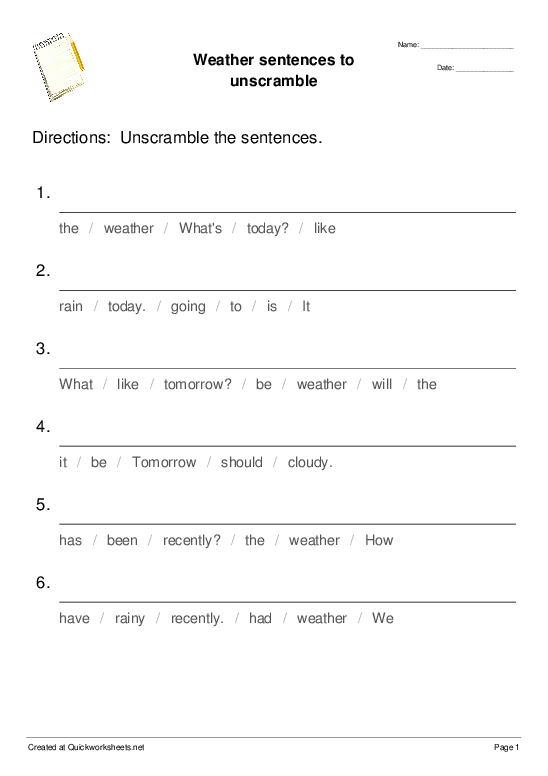 Weather sentences to unscramble - Worksheet Thumbnail