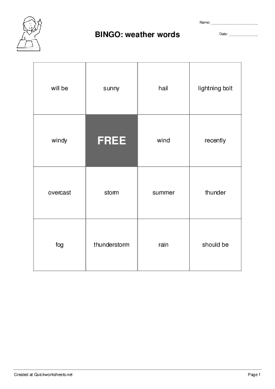 BINGO: weather words - Worksheet Thumbnail