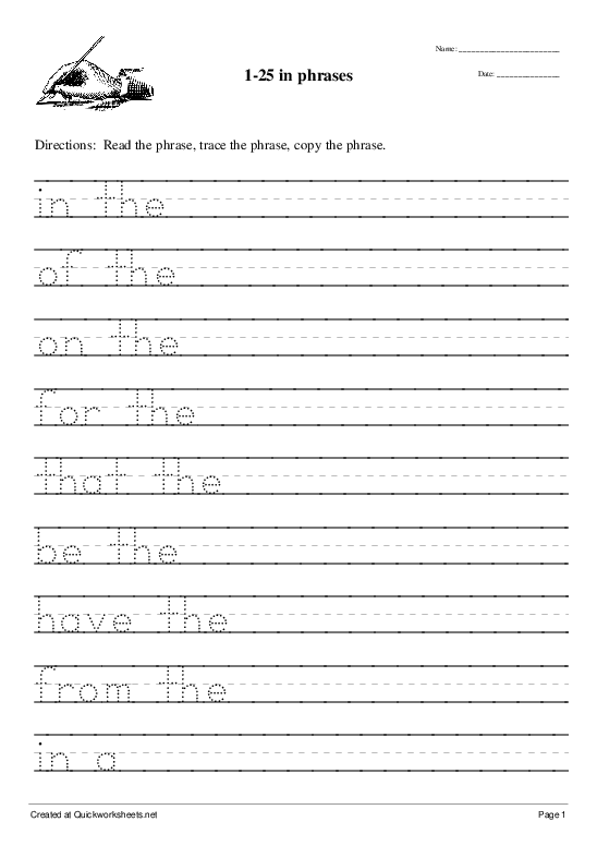 1-25 in phrases - Worksheet Thumbnail