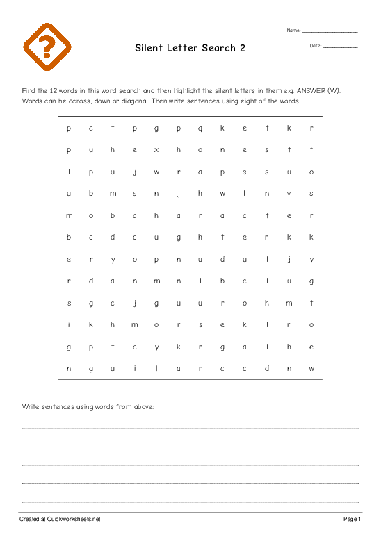 SILENT LETTER Worksheets