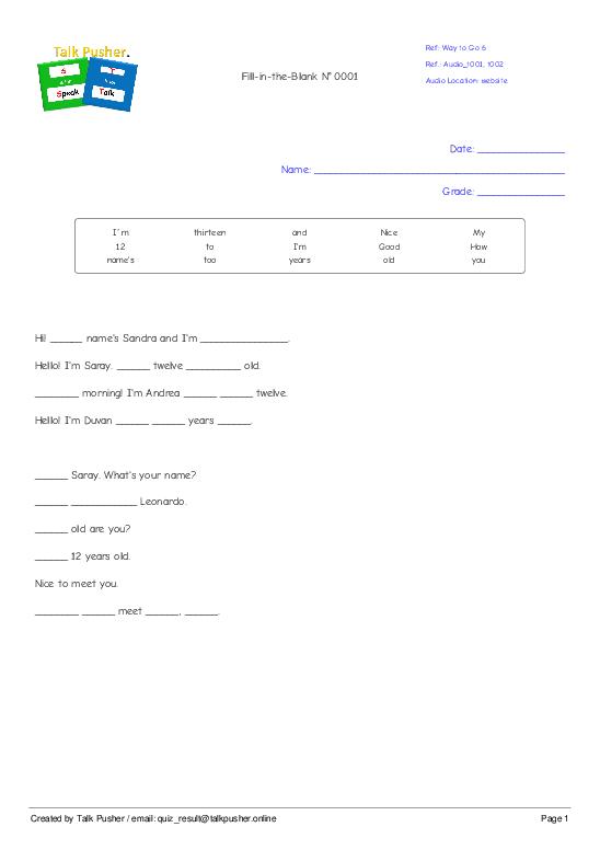 Fill-in-the-Blank N° 0002 - Worksheet Thumbnail