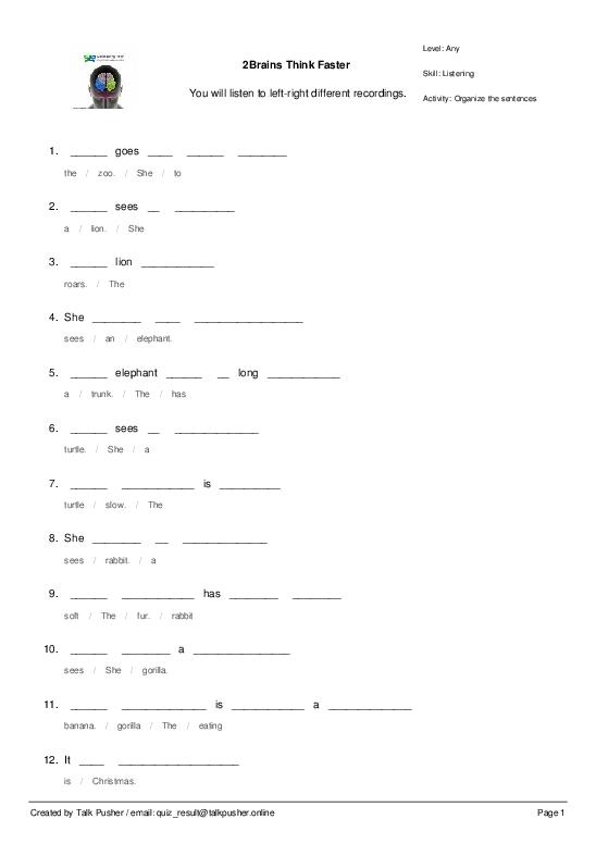 2Brains Think Faster Ref. 200001 - Worksheet Thumbnail