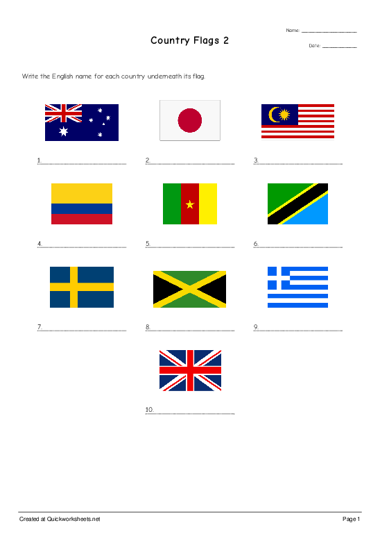 Country Flags 2 - Worksheet Thumbnail