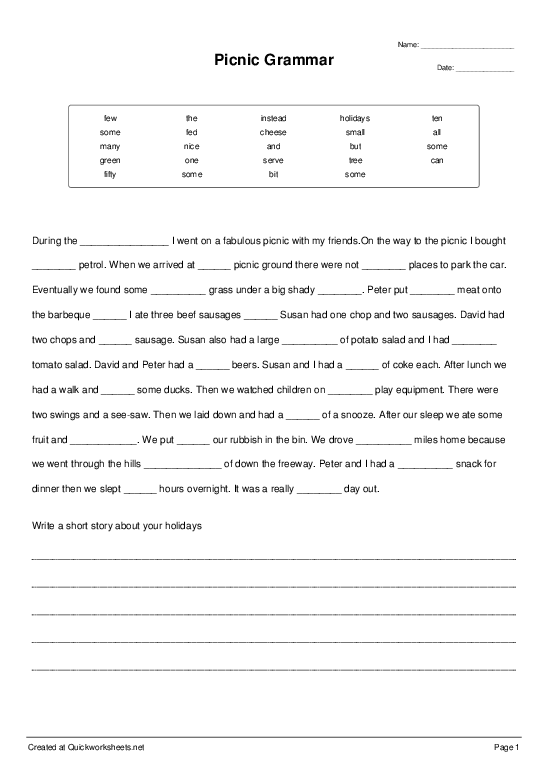 Picnic Grammar - Cloze Test - Quickworksheets net