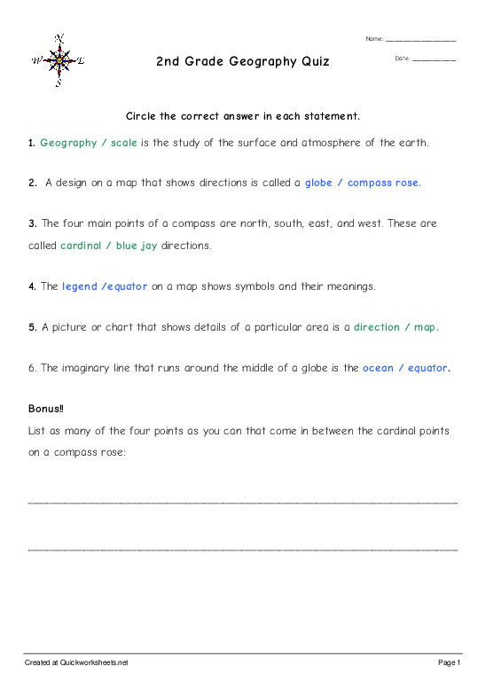 2nd Grade Geography Quiz - Worksheet Thumbnail