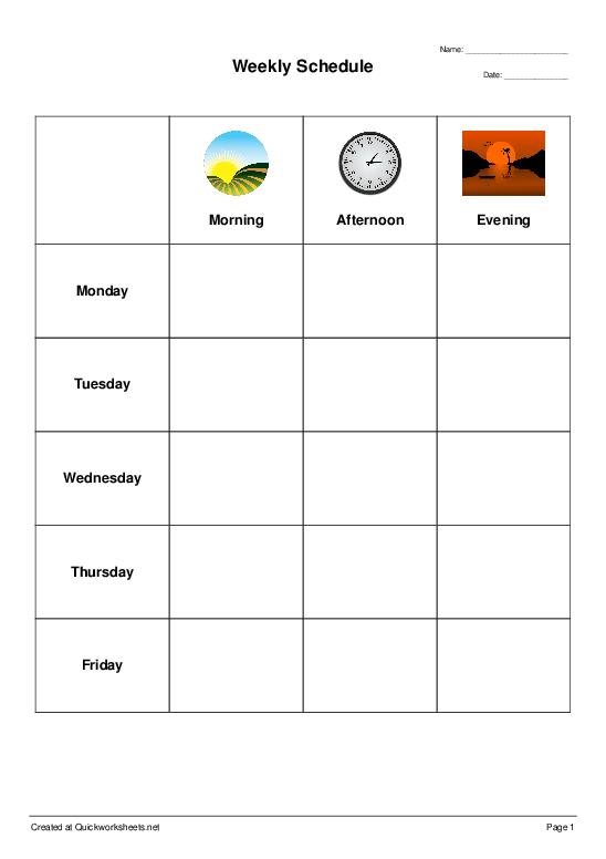 Weekly Schedule - Worksheet Thumbnail