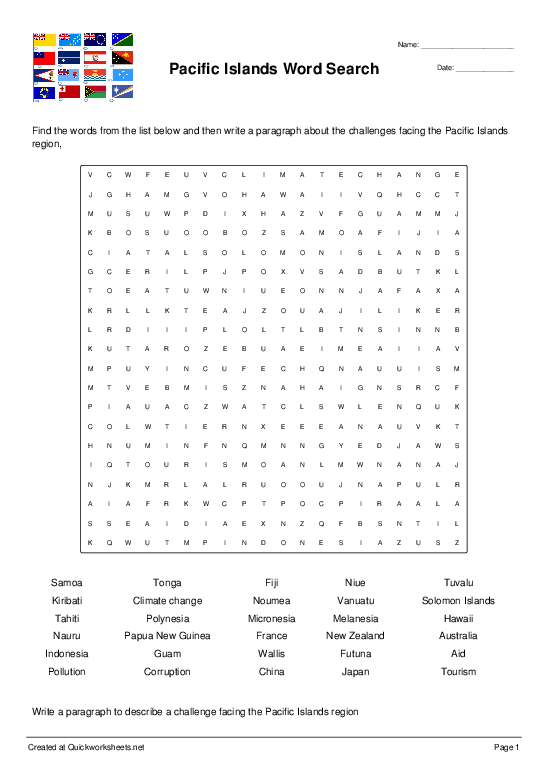 Pacific Islands Word Search - Worksheet Thumbnail