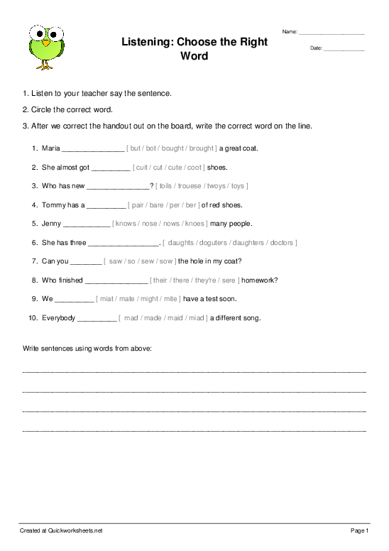 Shared Fill-in-the-Blank Sentences Worksheets