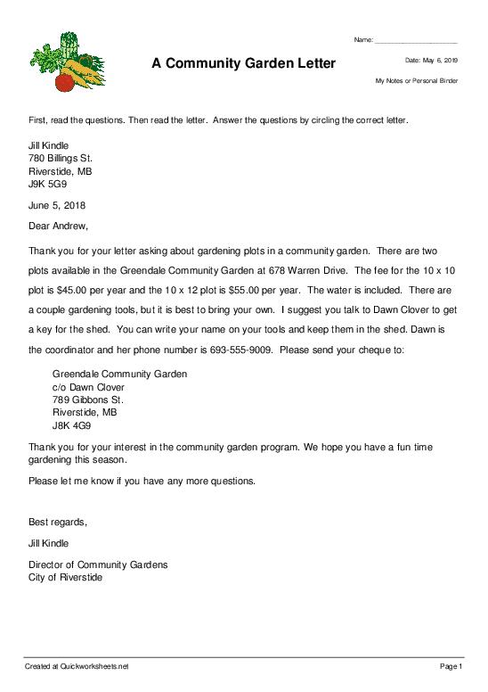 A Community Garden Letter - Worksheet Thumbnail