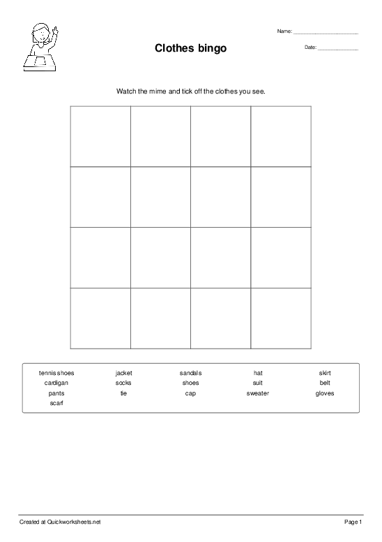 Clothes bingo - Worksheet Thumbnail