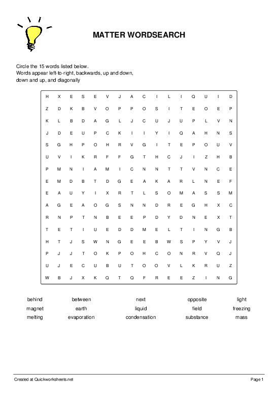 MATTER WORDSEARCH - Worksheet Thumbnail