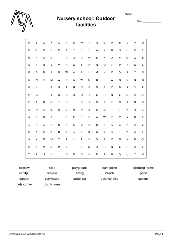 Nursery school: Outdoor facilities - Worksheet Thumbnail