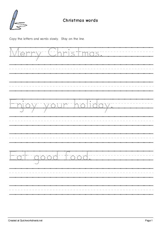 Christmas words - Worksheet Thumbnail