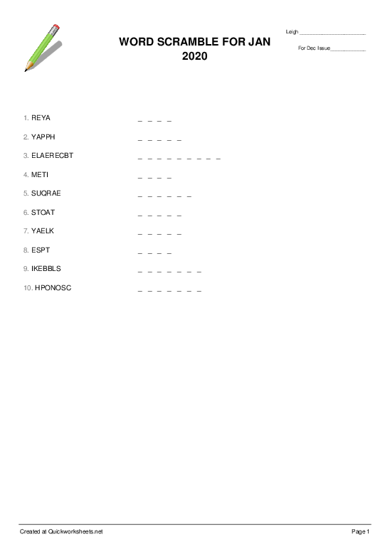 WORD SCRAMBLE FOR JAN 2020 - Worksheet Thumbnail