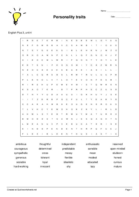Personality traits - Worksheet Thumbnail