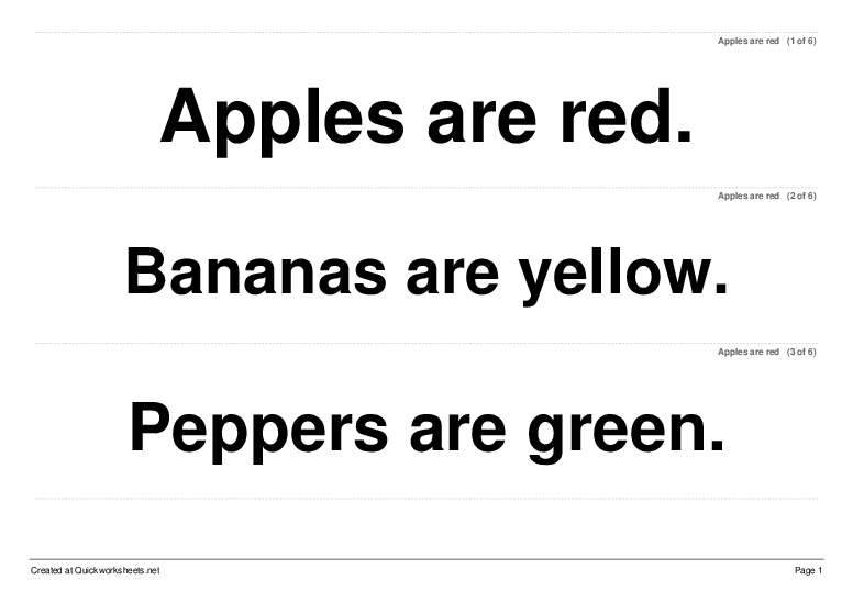 Apples are red - Worksheet Thumbnail