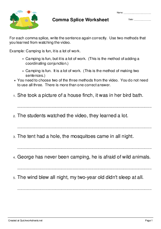 Comma Splice Worksheet - Worksheet Thumbnail