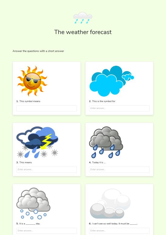 The weather forecast - Worksheet Thumbnail