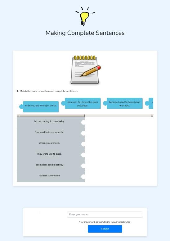 Making Complete Sentences - Worksheet Thumbnail