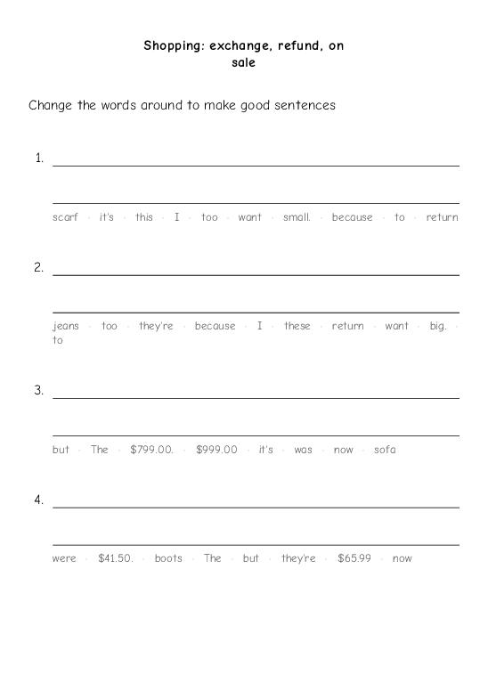 Shopping: exchange, refund, on sale - Worksheet Thumbnail